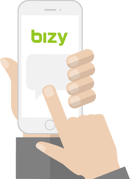 Picture of Hand interacting with Bizy Mobile app
