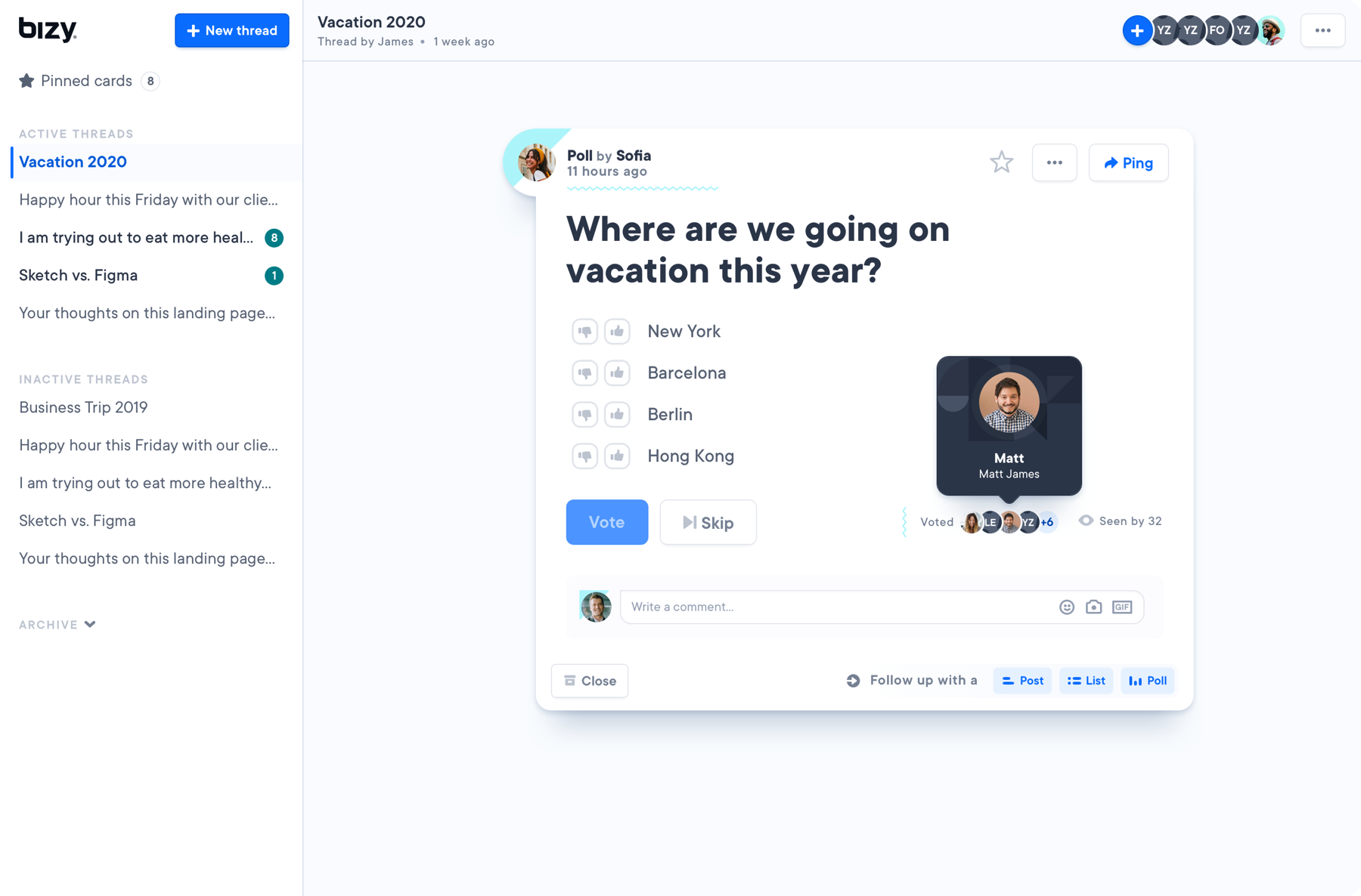 Shows the UI of bizy, with the card: 'Where are we going on vacation this year?'
